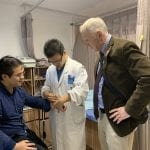 Daniel Krewski observing acupuncture in the Department of Traditional Chinese Medicine (2018)