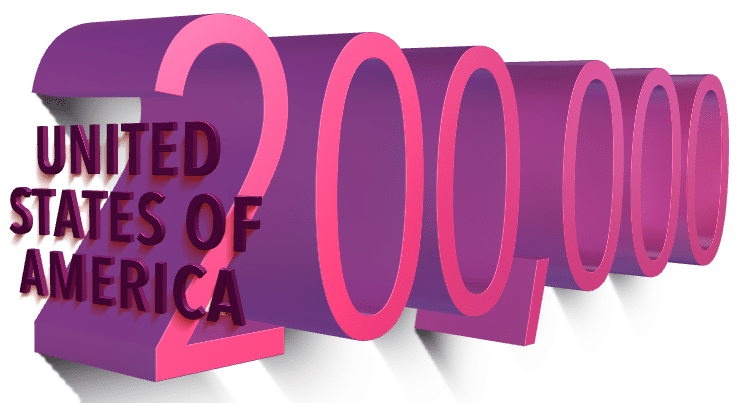 Graphic showing the U.S. reaching 200,000 Covid-19 deaths